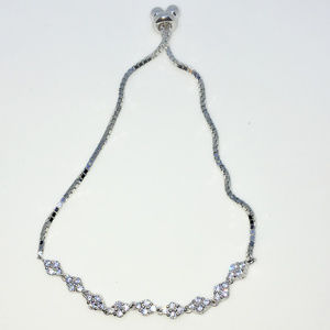 Silver rows of 4 CZ Adjustable box chain Bracelet
